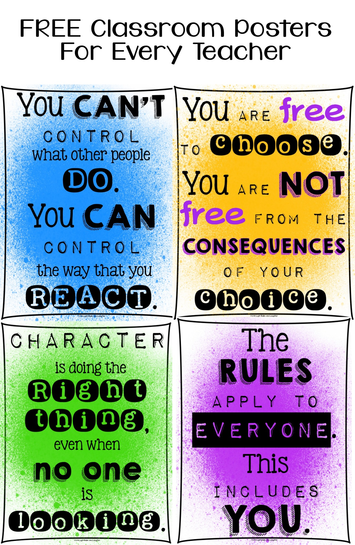 FREE Classroom Posters For Every Teacher - Character Education ...
