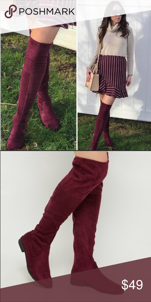"""9a27dc8ebee Tall boots wine red Over the knee faux suede women Brand new Boutique Fabric  upper Balance Man made Side Zipper closure Red wine Heels size approx 1.5""""  ..."""