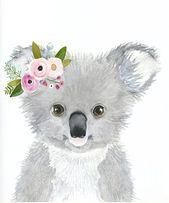 Watercolor koala, flower crown, nursey print, Australian animals nursery, koala …