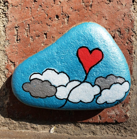 HEART BALLOON hand-painted rock