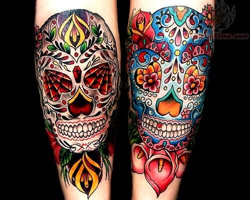 Tattoo sugar skulls old school tattoos pictures and for Old school day of the dead tattoo