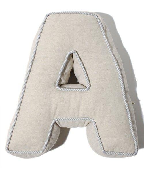 George S Fabric ジョージズ ファブリック のオンストライプ アルファベットクッション A クッション クッションカバー ネイビー クッション クッションカバー ファブリック