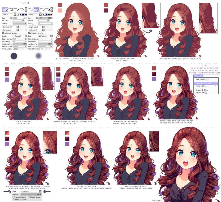 Hyan Style Shading Curly Brown Hair By Hyan Doodles Digital Art Tutorial Art Tutorials Digital Painting Tutorials
