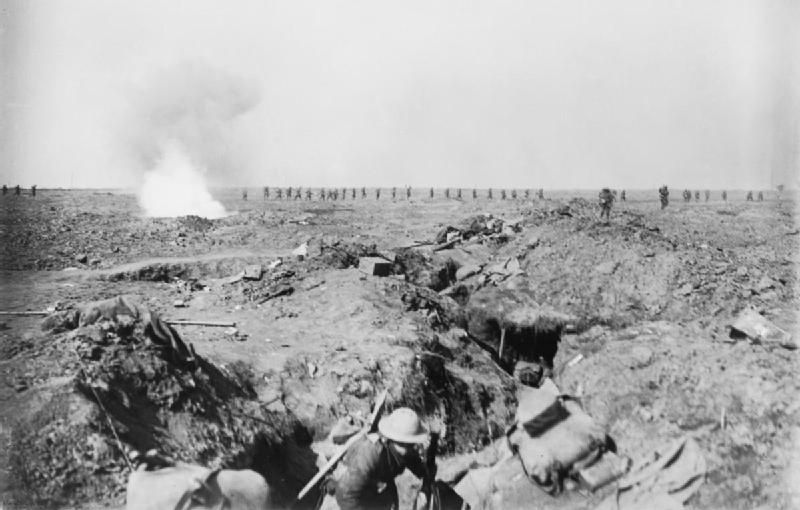 The Battle of Ginchy, Somme, France. British supporting infantry walk forward up the slope behind the barrage, September 1916.
