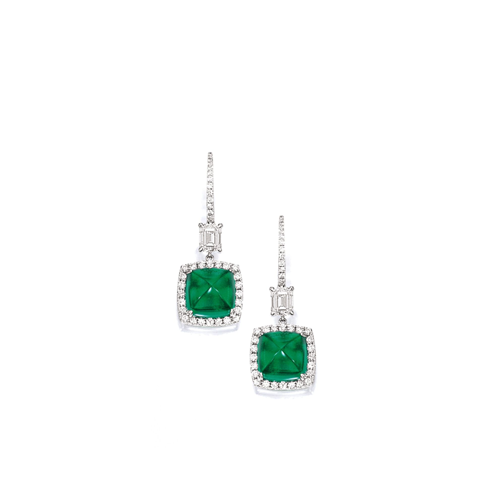 Pair of emerald and diamond pendent earrings lot sothebyus