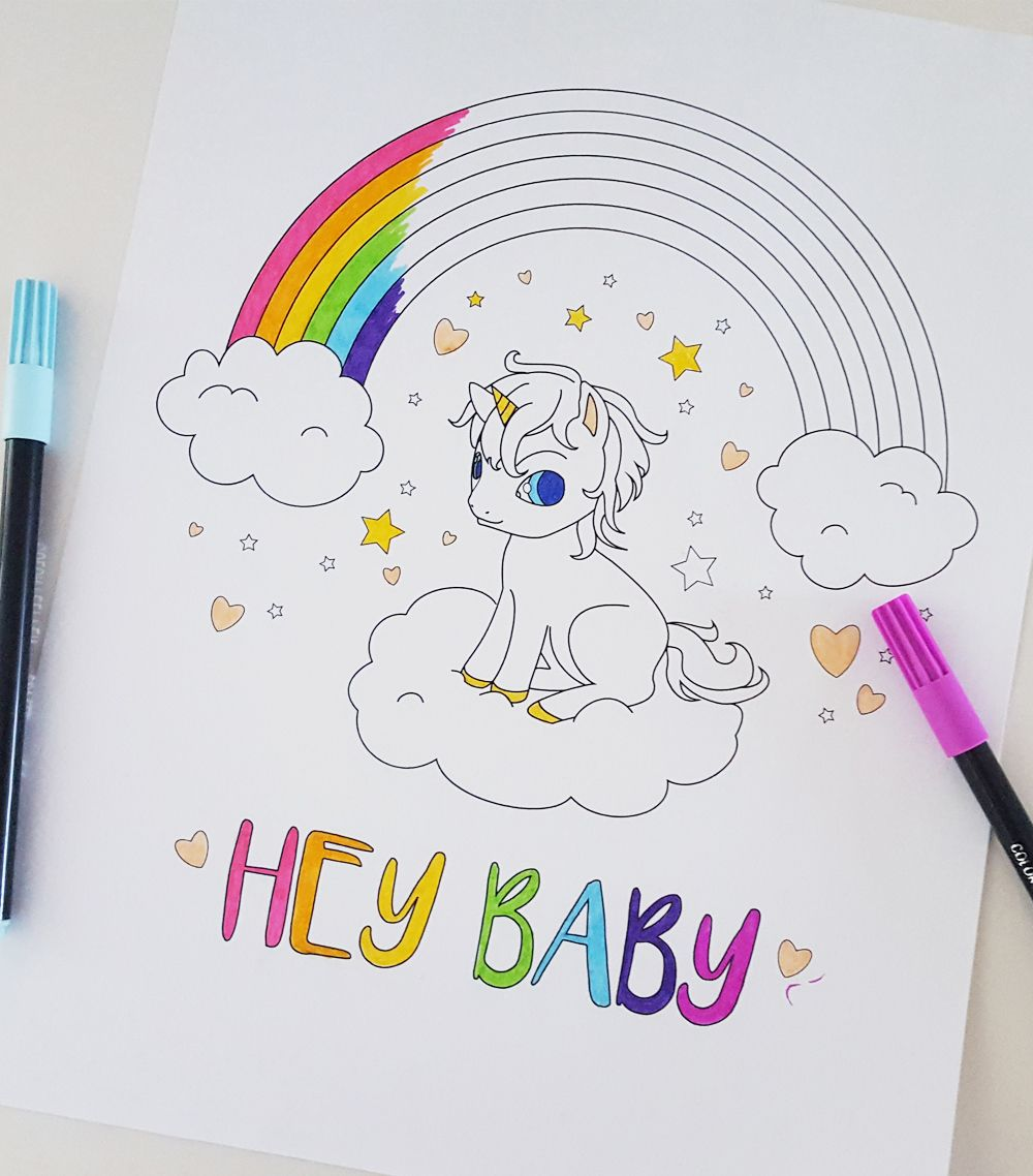 Printable Baby Unicorn Rainbow Coloring Page Fantasy Digital