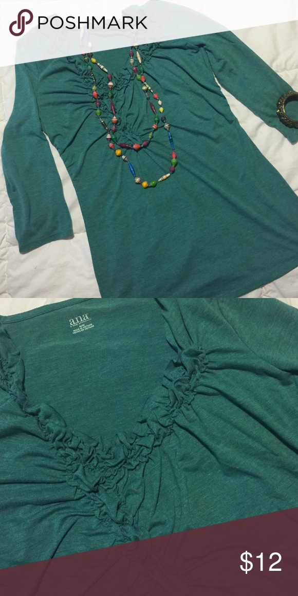 Pretty and comfortable 3/4 sleeve shirt by ana Excellent condition! Can be dressed up or down. Perfect stretch. Smoke free home. Don't forget to save 20% by bundling 2 or more items! a.n.a Tops