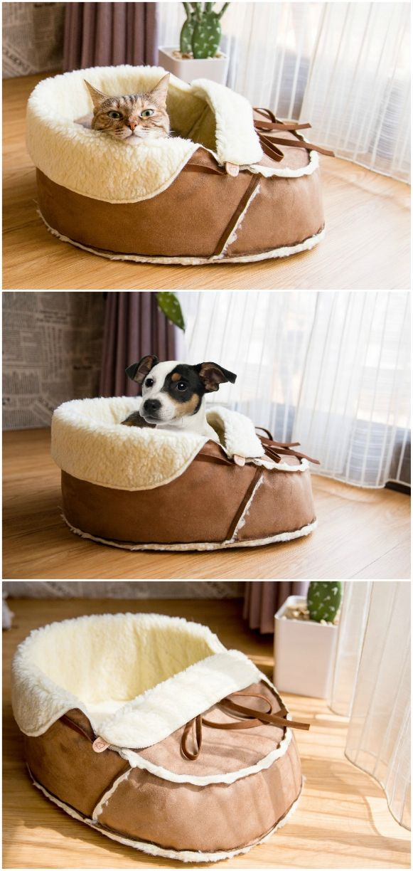 Sherpa Moccasin Cat And Dog Bed Dog bed, Dog cat, Pet beds