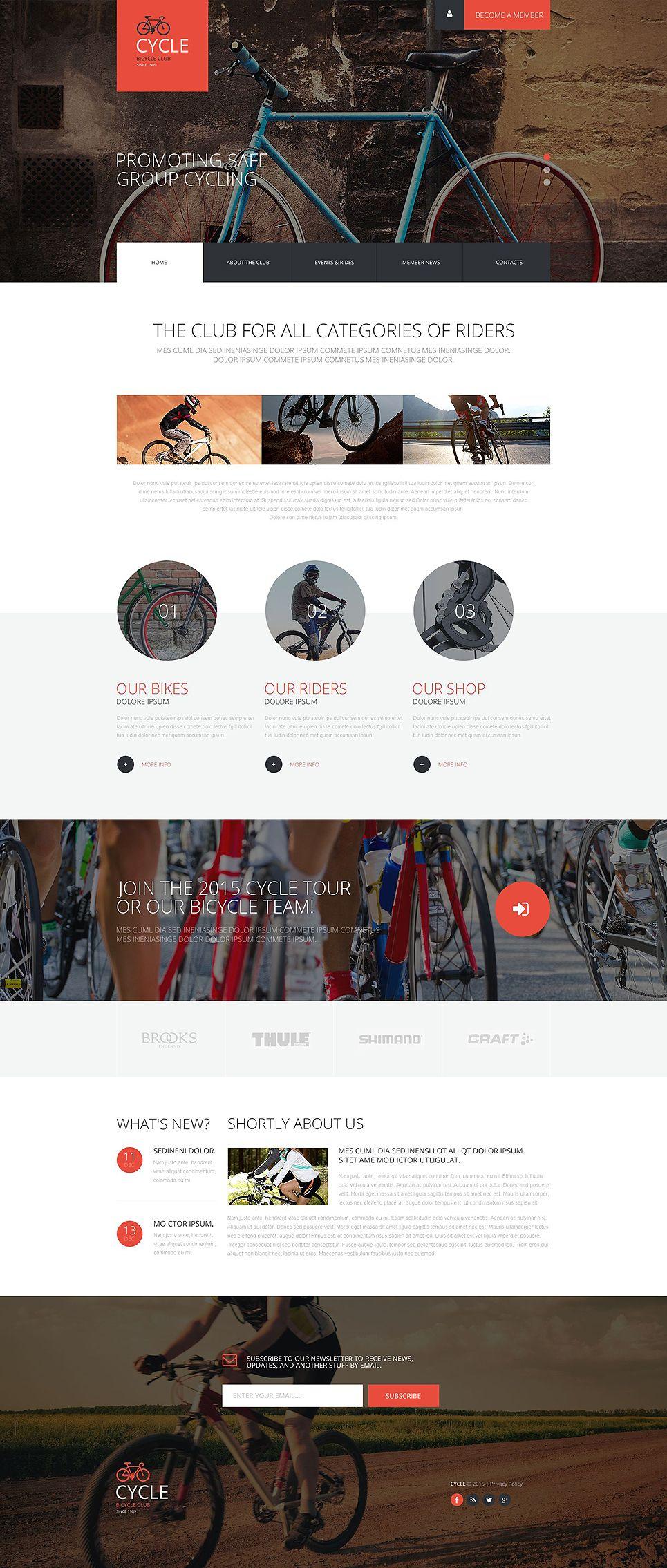 Responsive Website Vorlage für Radfahren | Ui inspiration