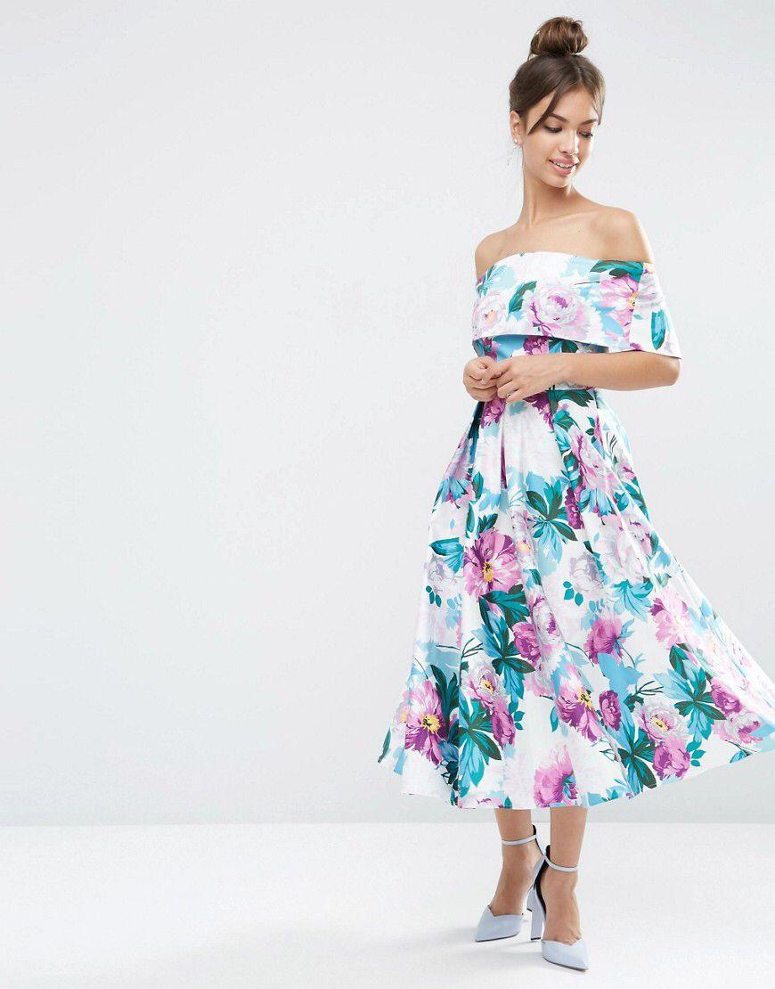 9e6b6ad307b7 Off The Shoulder Midi Prom Dress In Bright Purple Floral