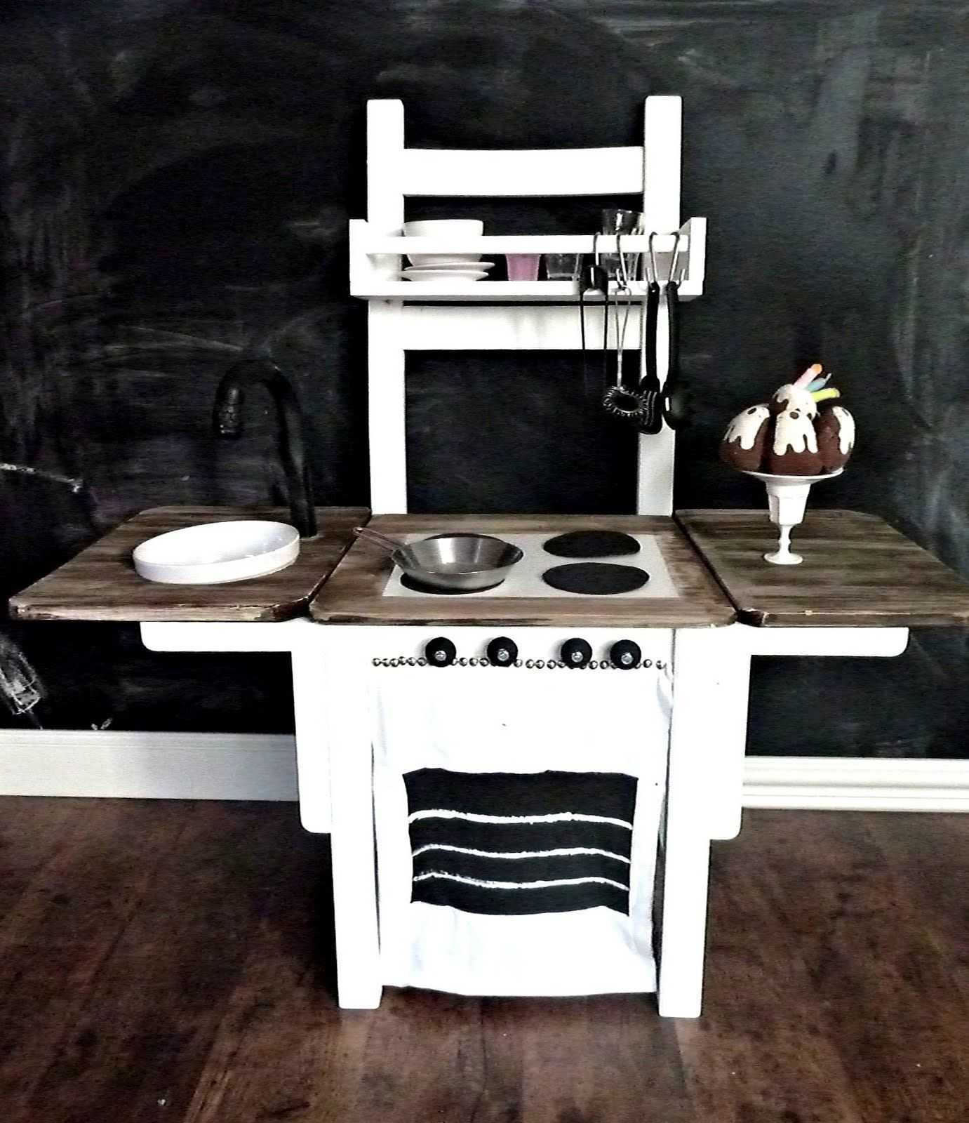 make a diy play kitchen made from a chair!