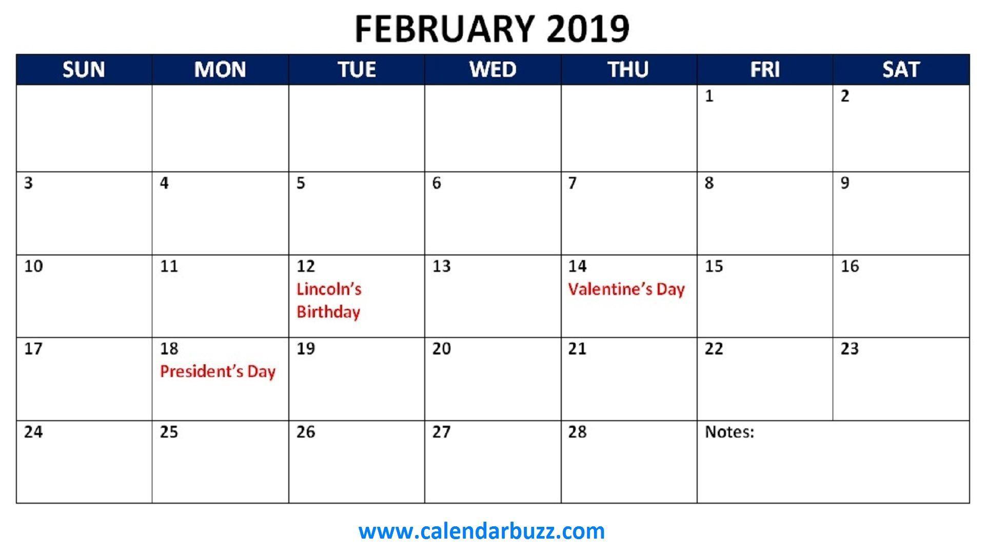 February 2019 Calendar With Holidays Usa Uk Canada India