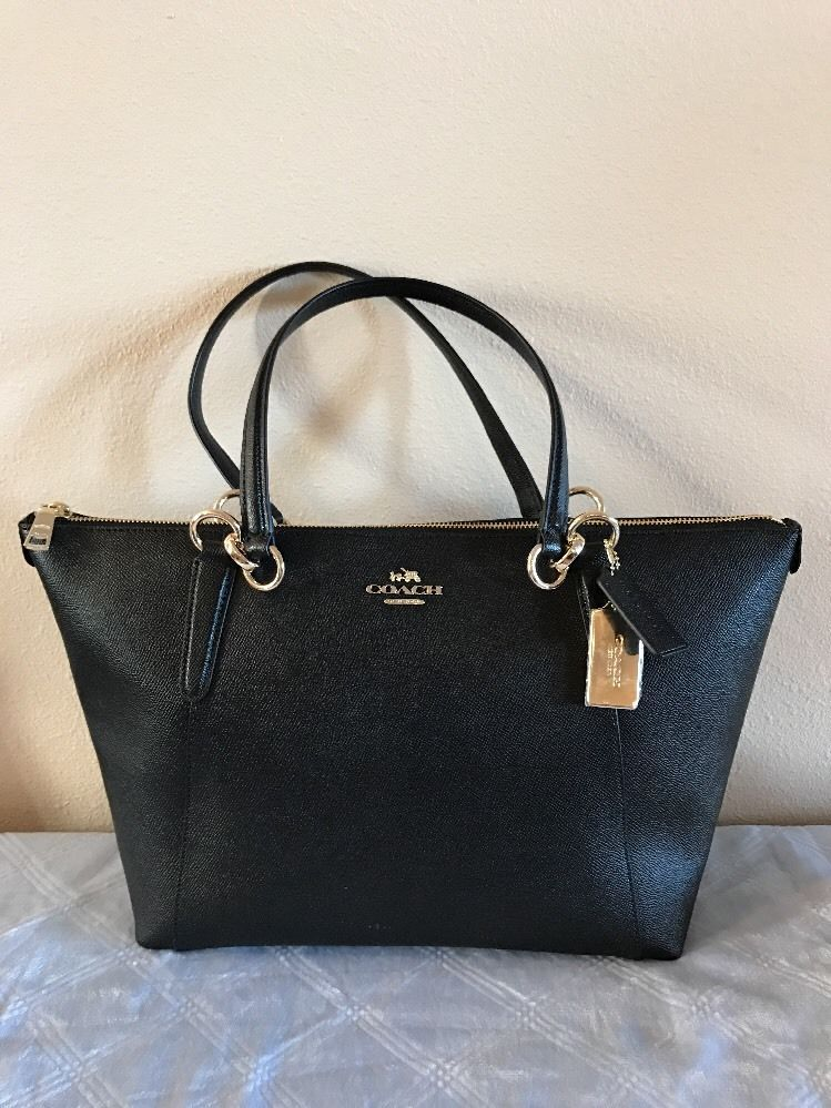 COACH F57526 WOMEN HANDBAG AVA TOTE IN CROSSGRAIN LEATHER BLACK NEW   eBay 5565a472f4d