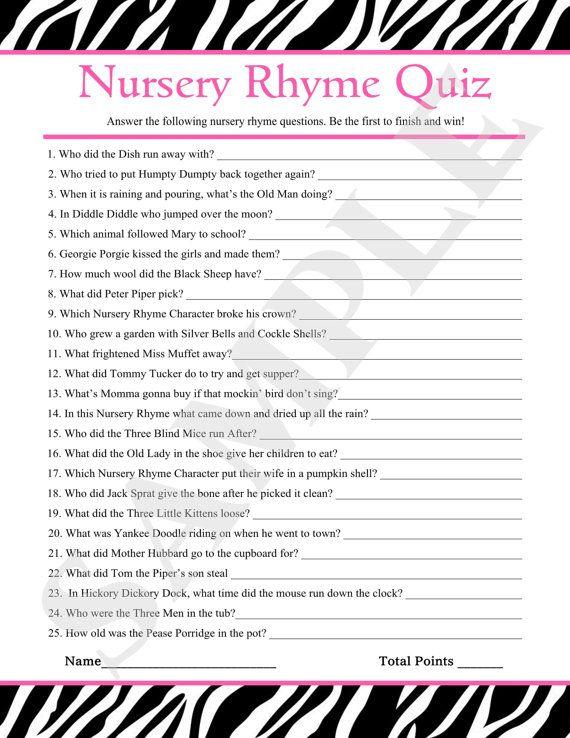 Instant Download Printable Nursery Rhyme Quiz Pink Zebra Baby