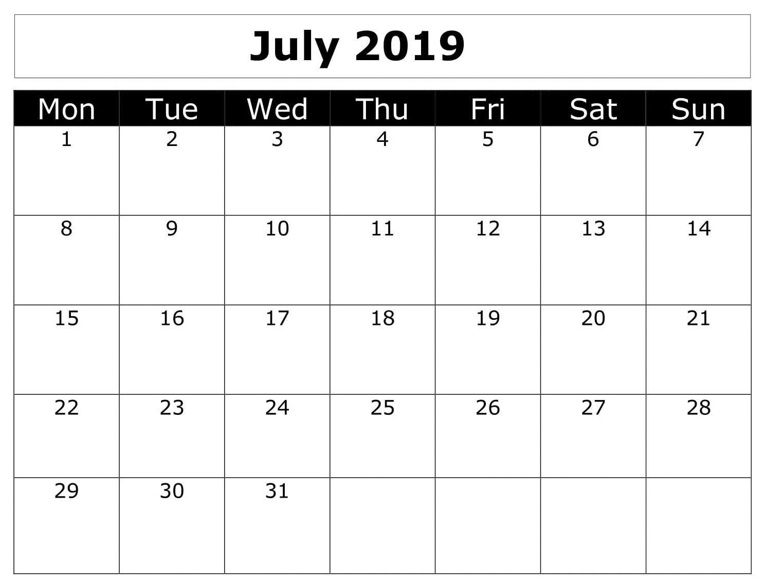 Calendar July 2019 Printable Word Printable Calendar July
