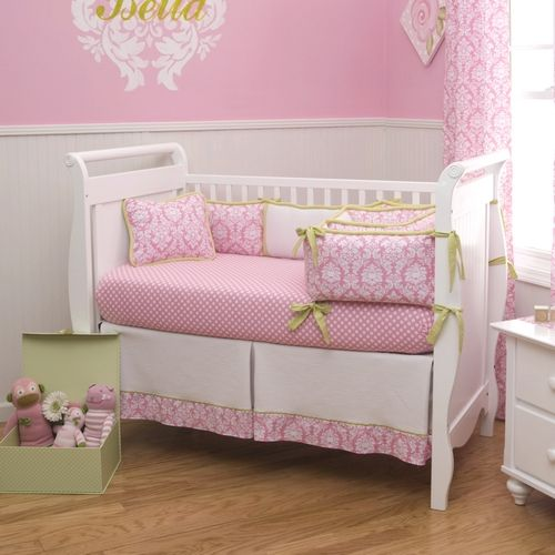Candy Pink Damask Crib Bedding | Pink and White Damask ...