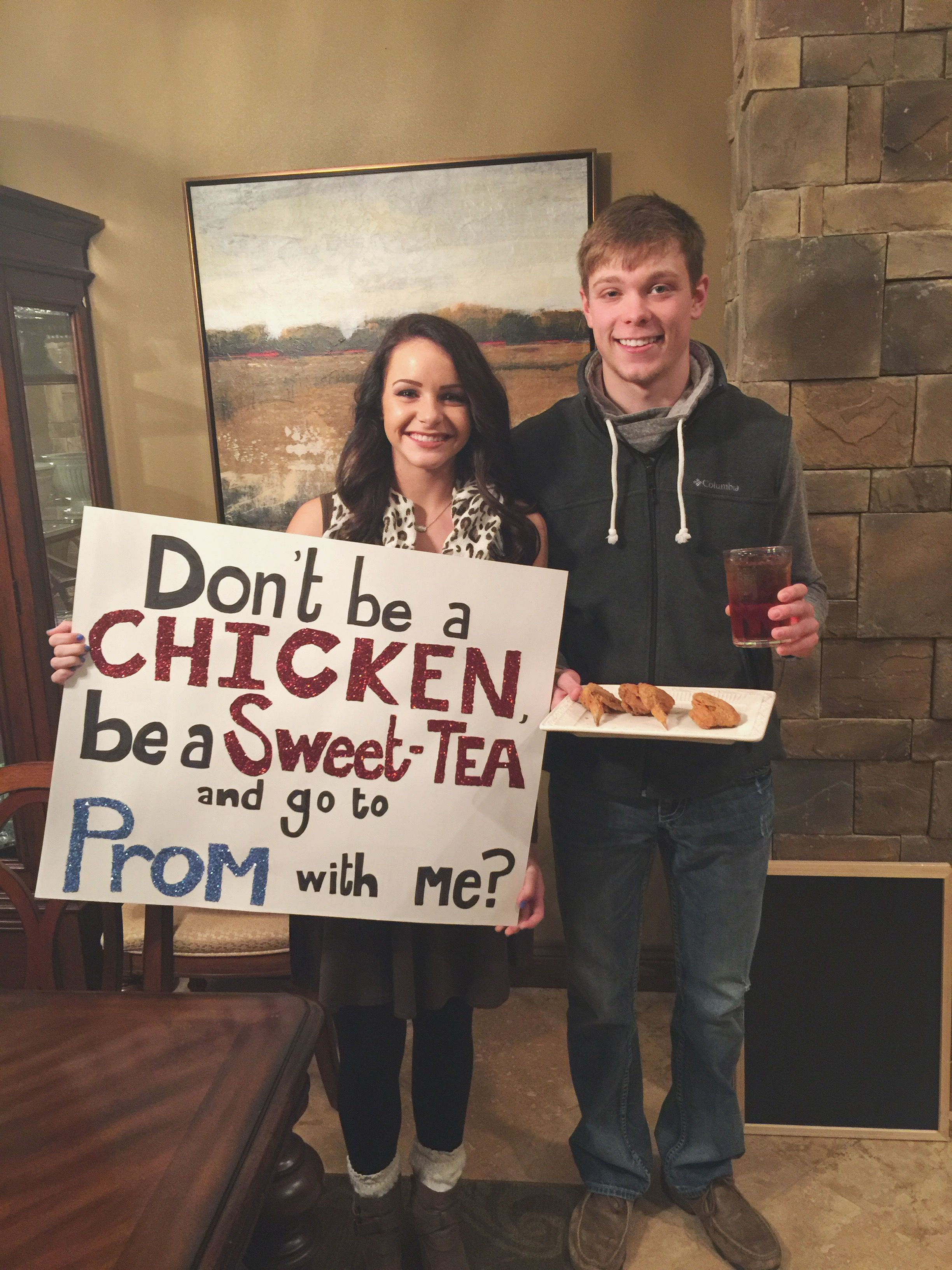 chicken and sweet tea promposal art ideas pinterest promposal dance proposal and prom. Black Bedroom Furniture Sets. Home Design Ideas