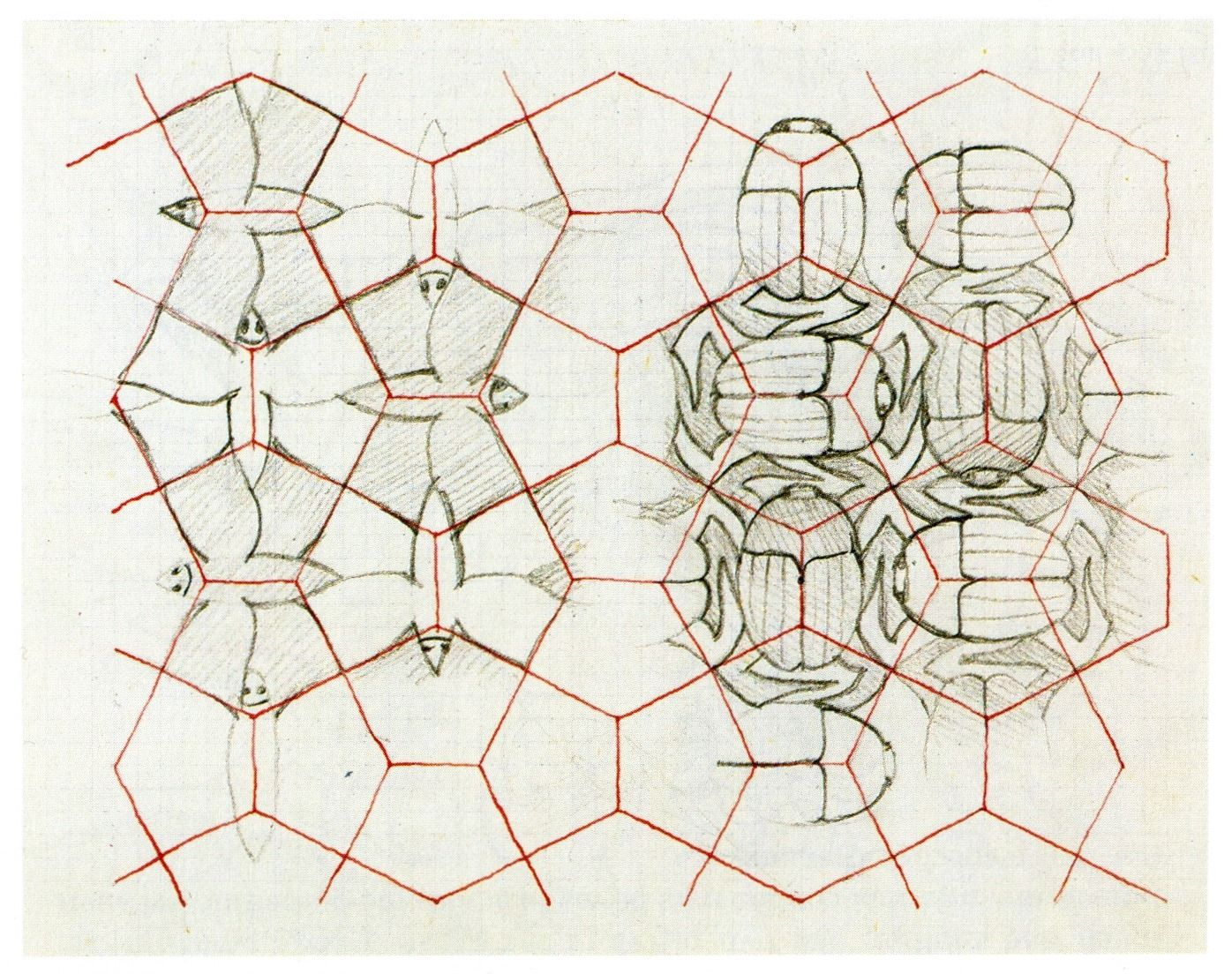 Scarabs and butterflies emerge from a grid of pentagons