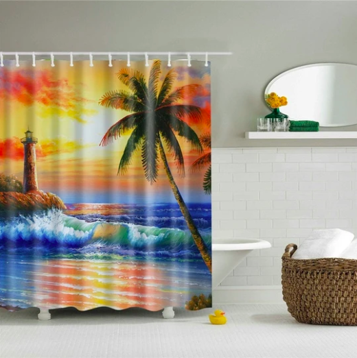 Tropical Beach Lighthouse Fabric Shower Curtain In 2020 Shower
