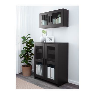 BRIMNES Cabinet with doors Glass/black 78x95 cm