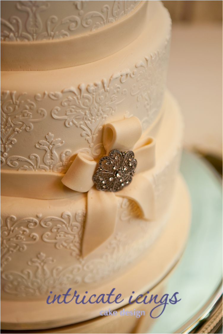 Vintage Inspired Wedding Cake- Lace Detail and Ribbon with ...
