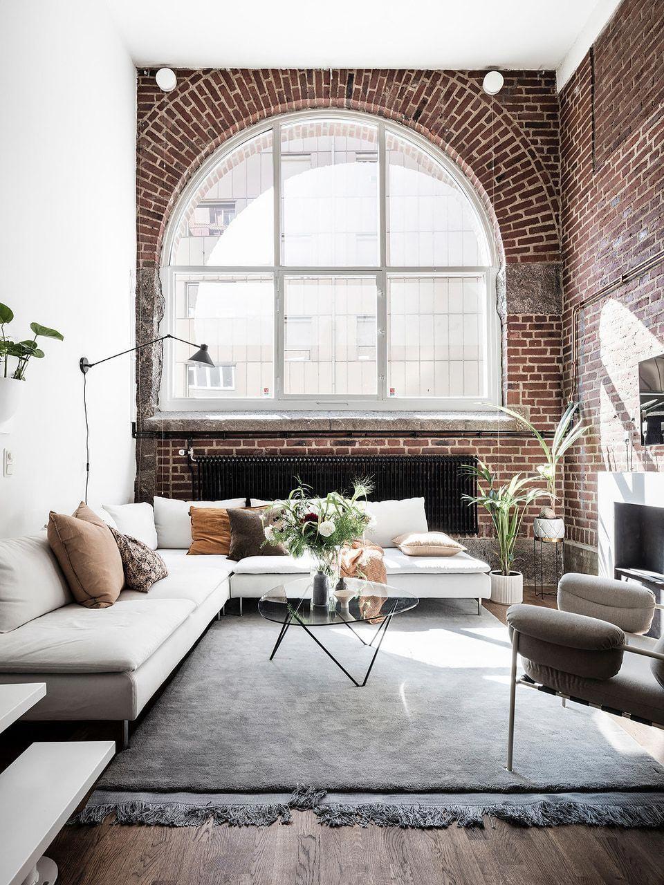 Living Room Interior Design Exposed Brick Wall Big Grid Window White Sofa Modern Simple Neu Living Room White Trendy Living Rooms Living Room Diy
