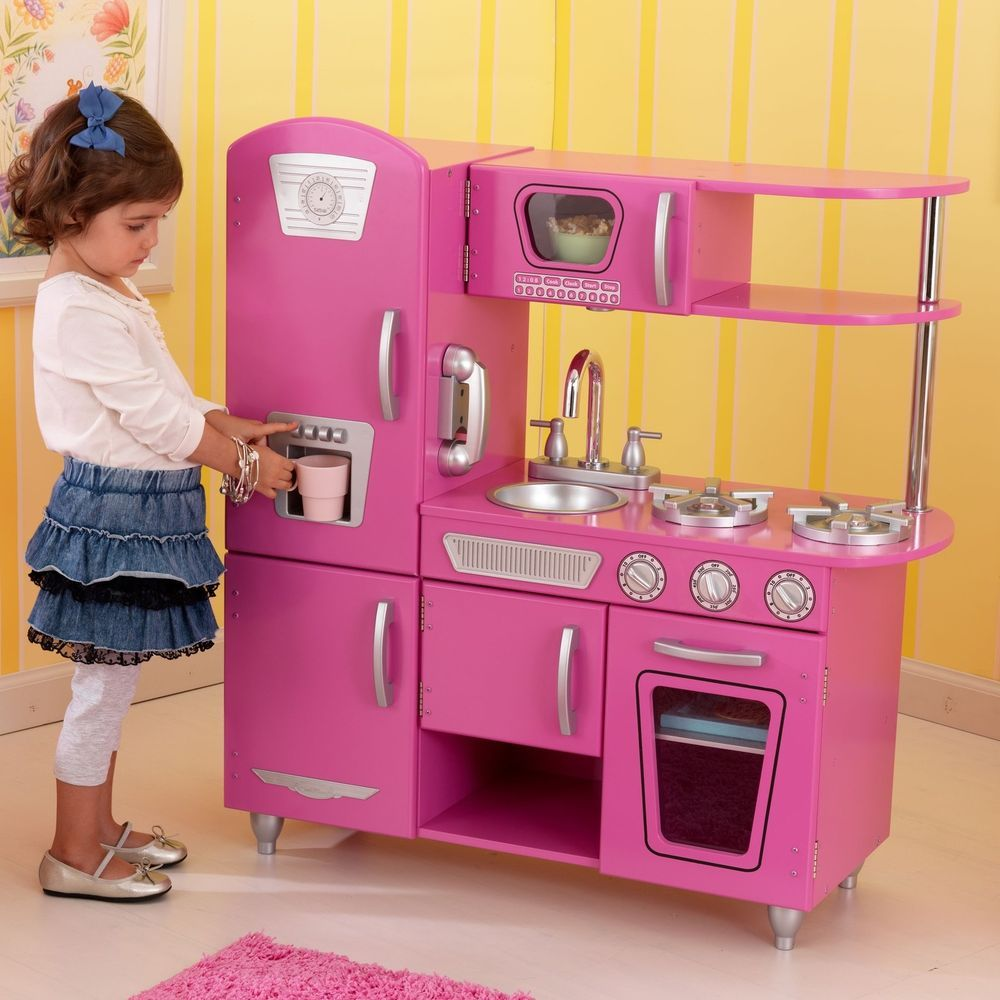 Play Set Vintage Kitchen Dark Pink Boys Girls Pretend Wood
