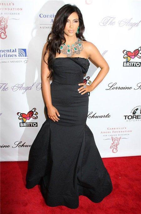 Mermaid Long Black kim kardashian Inspired Red Carpet Dress ...