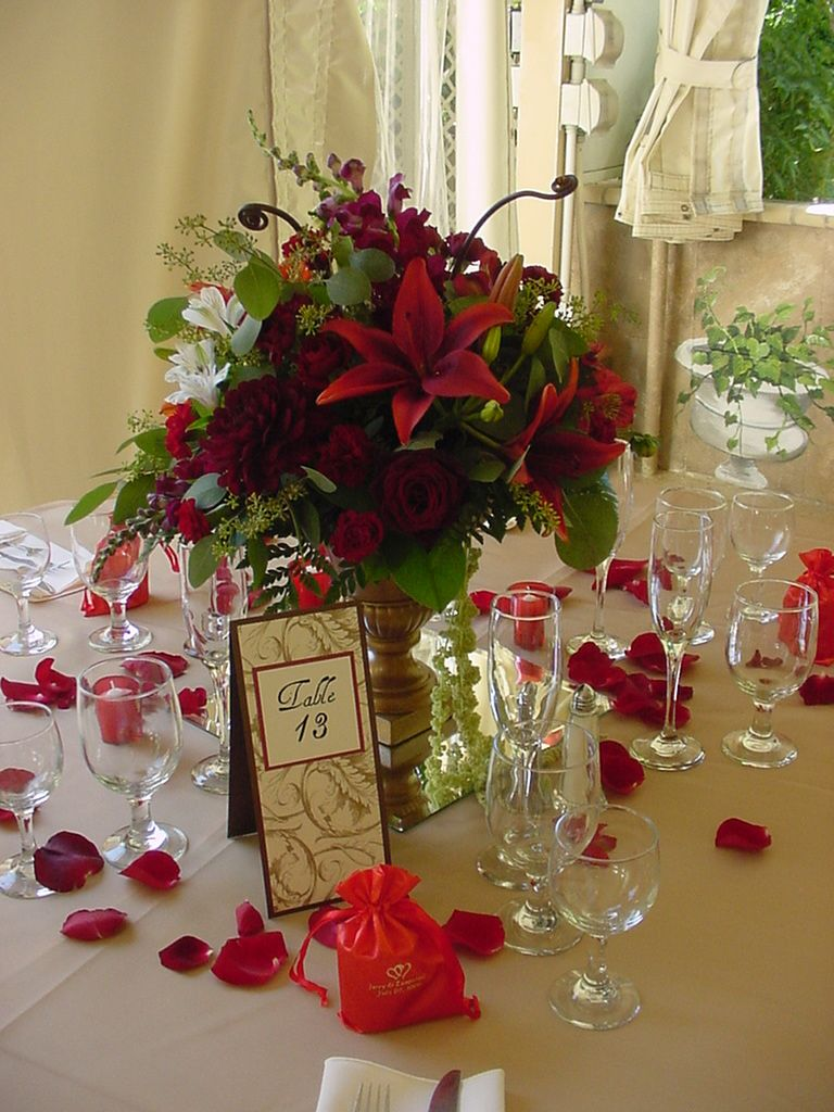 Tall Burgundy Centerpieces : Red rose centerpieces google search if i have a