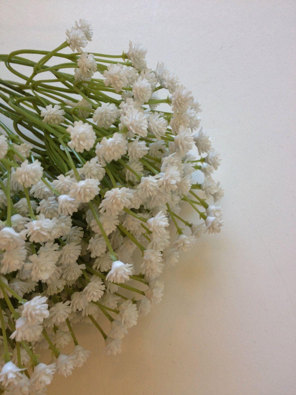 Artificial Flower Bush White Plastic Babys By Blissfulsilks 1099