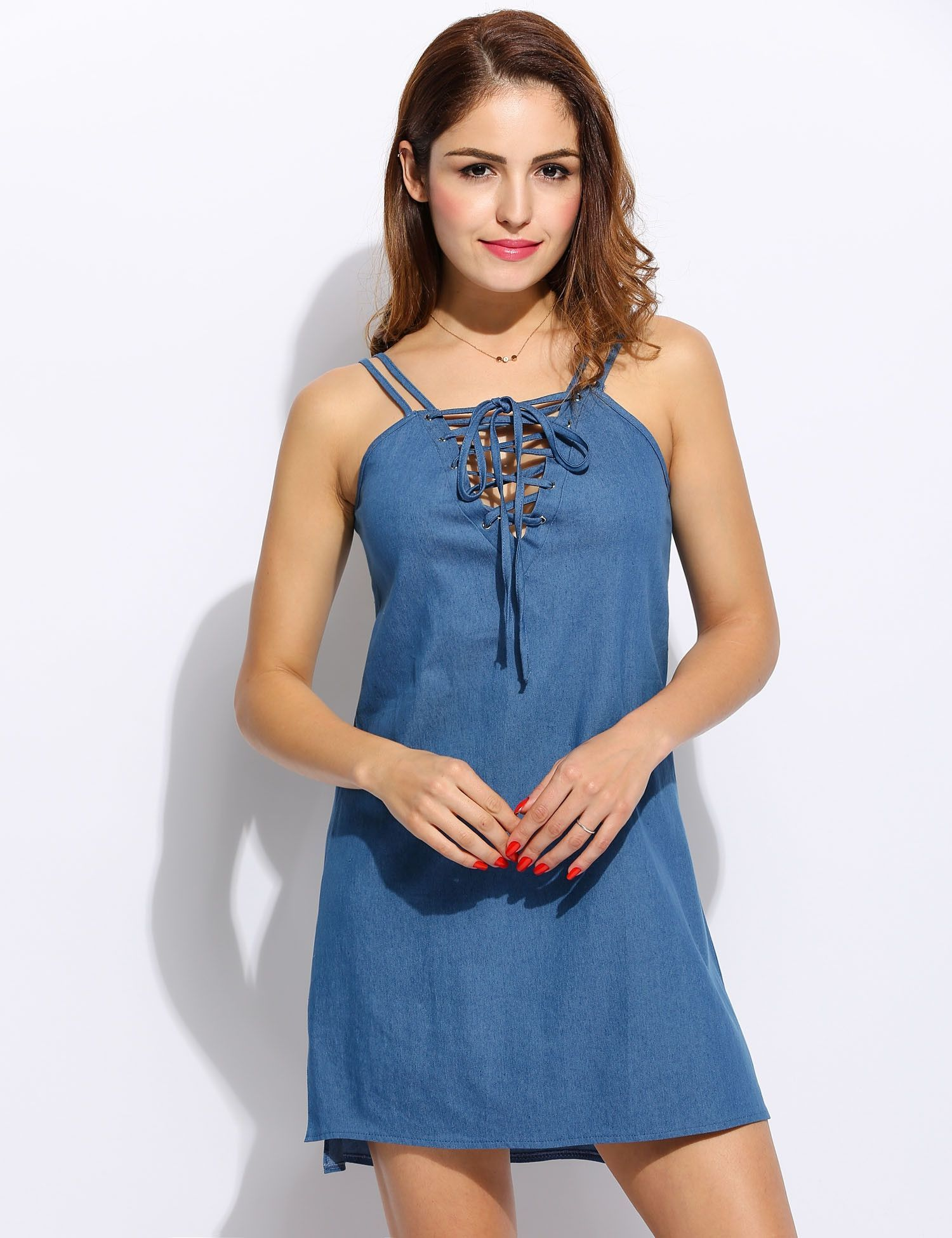 Green lace up dress  Women Cusaul Solid Front Laceup Spaghetti Straps Denim ALine Dress