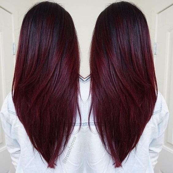 10 Beautiful Hairstyle Ideas for Long Hair  2018 Women Long     straight v hairstyles long hair 2017 cherry wine hair color