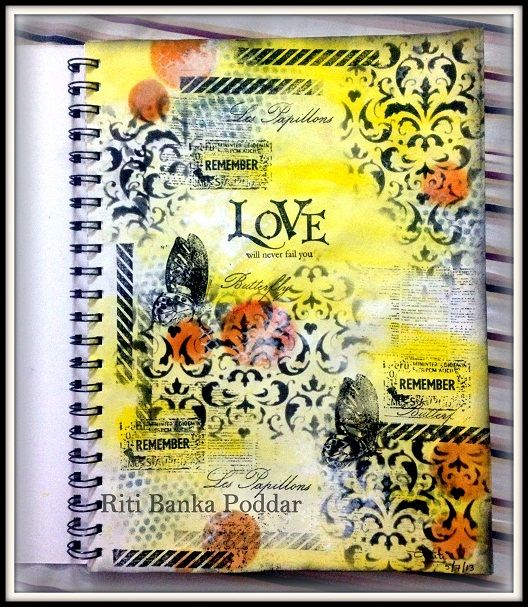 Art Journal - using Prima & TCW Stencils, Unity and Cavallini Stamps, Gelatos, Distress Inks & Paints !