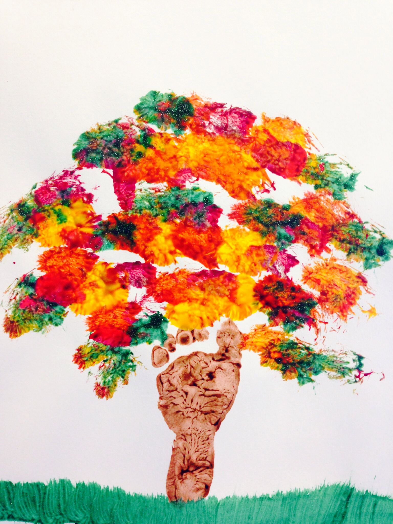 Fall Tree Footprint Tree For Infants Fall Art Projects