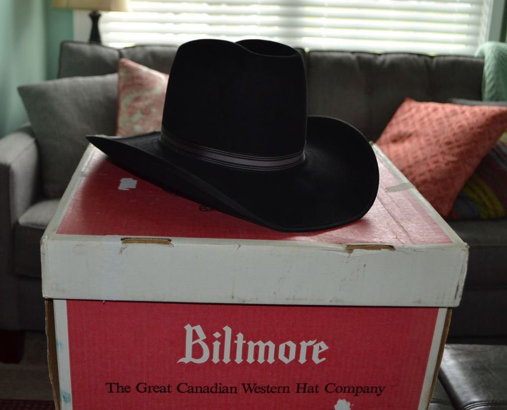 73b4c57ff New in Box Vintage Black Cowboy Hat Resistol Stagecoach Size 7 1 2 ...