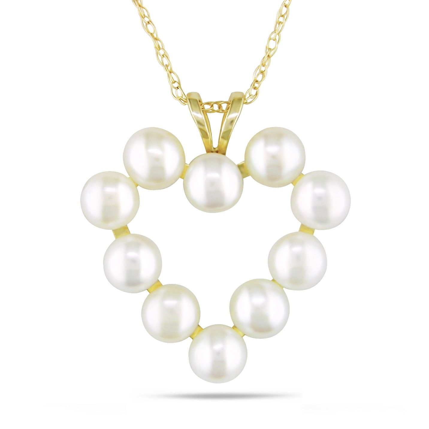 Miadora k yellow gold white cultured freshwater pearl heart
