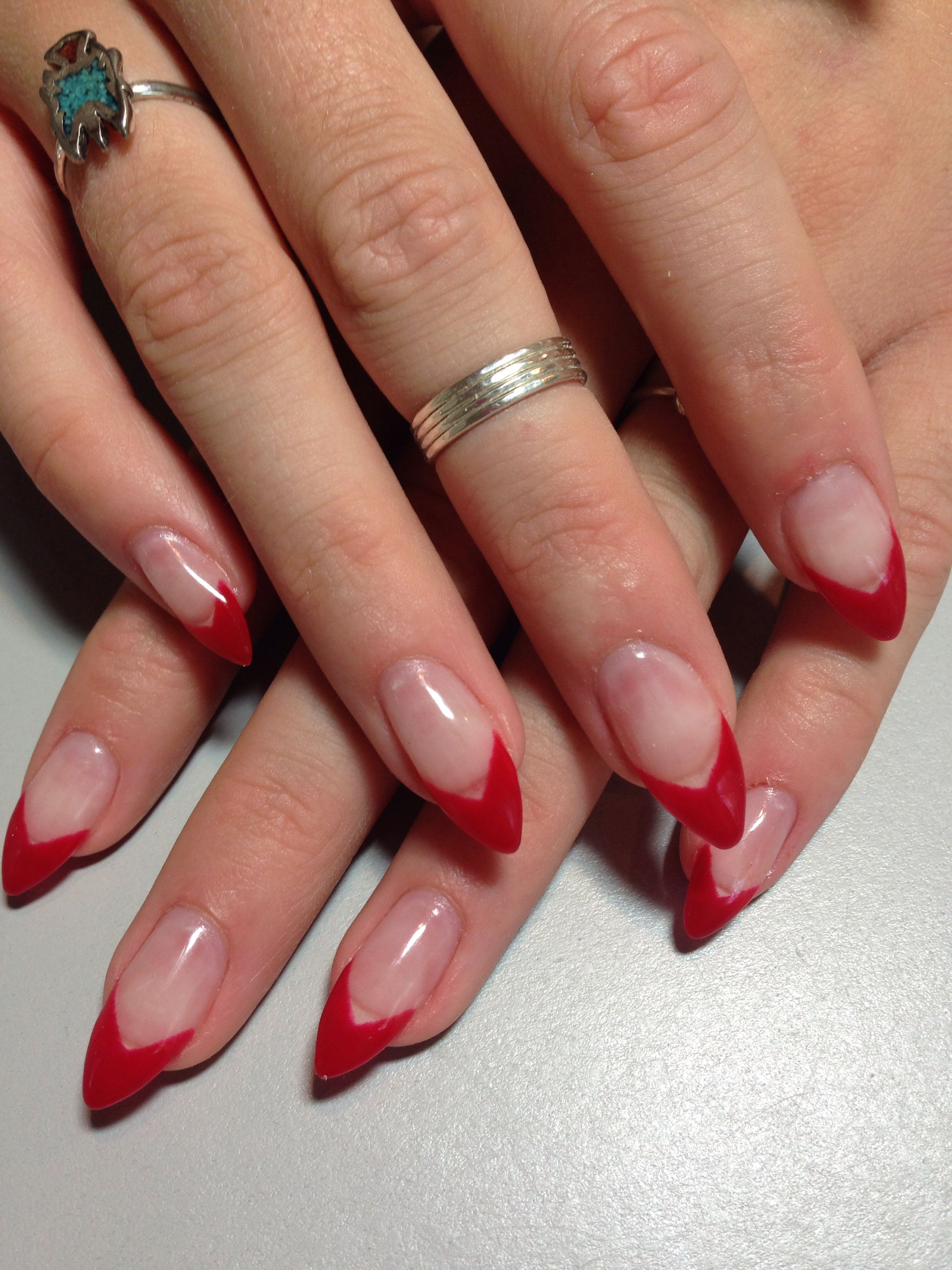 Red Tip Stiletto Nails Red Tip Nails Red Nails Pointy Nails