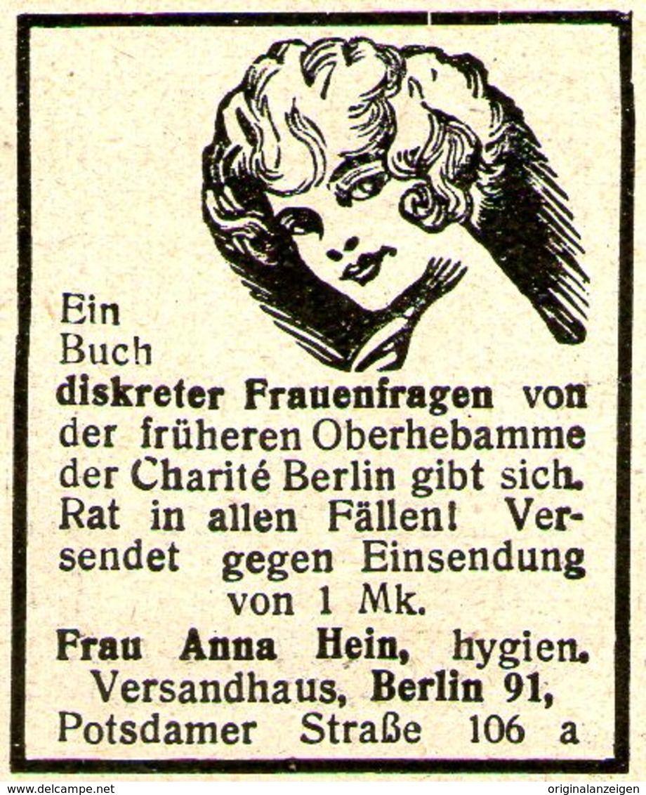 Original Werbung Anzeige 1924 Diskrete Frauenfragen Anna Hein Berlin Ca 30 X 40 Mm Berlin Anna Versandhauser