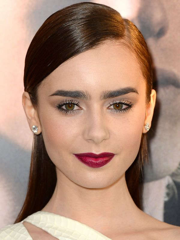 Lily Collins Thick Brows Low Arch Eyebrow Shape Best