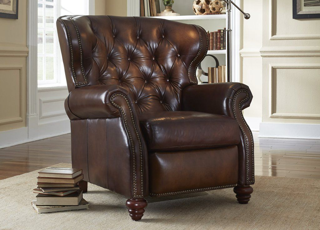 Arthur Chesterfield Leather Wingback Recliner Tufted Reclining Chair Tufted Leather Chair Leather Furniture Leather Dining Room Chairs