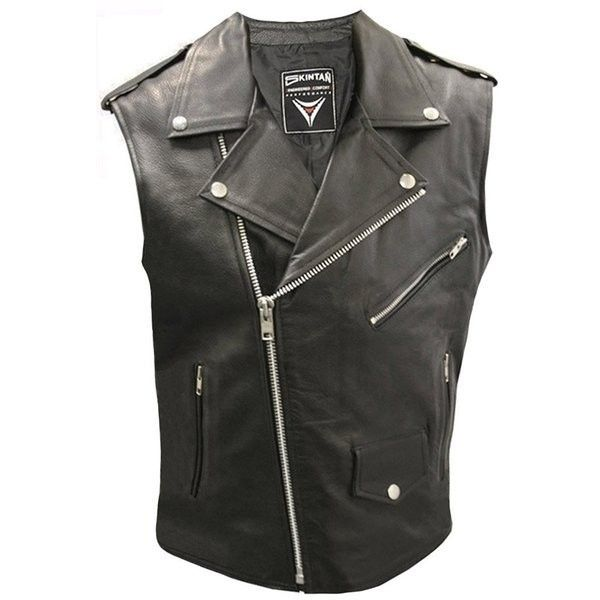156fa1e1607a8 BRANDO Cut-Off Sleeveless Leather Waistcoat Biker Jacket (1.555 ARS) ❤  liked on Polyvore featuring outerwear