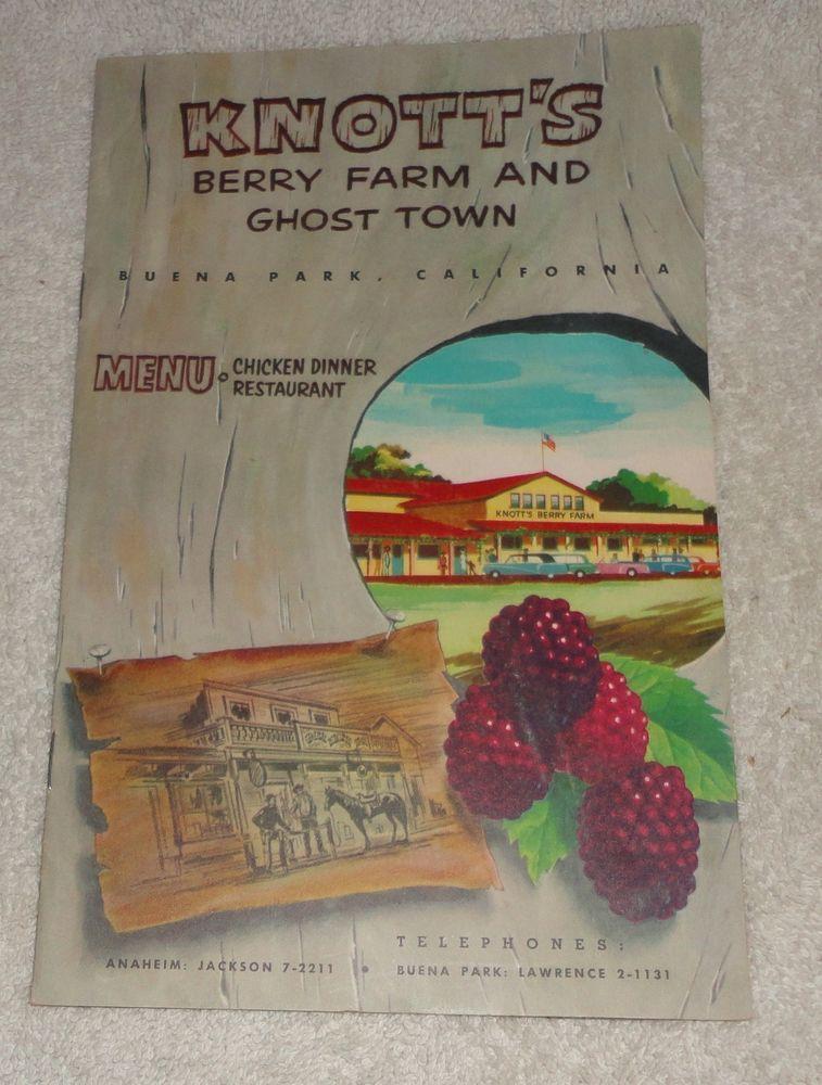 Vtg 1956 Knotts Berry Farm California Chicken Dinner
