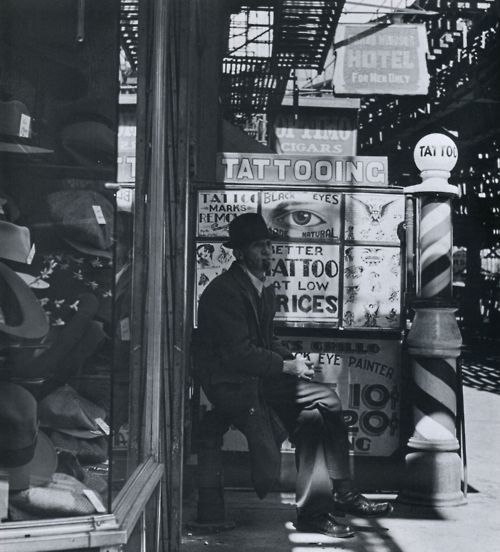 Tattoos On The Bowery, 1940s.