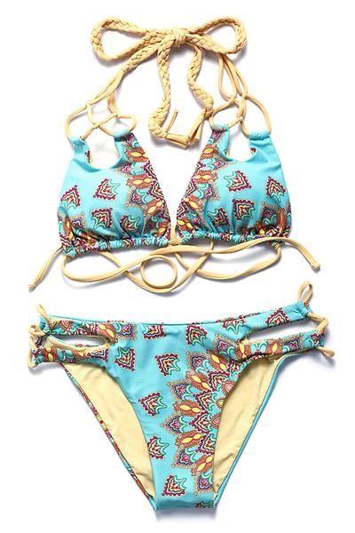 Abstract Pattern Print #Braided Triangle Halter Bikini Set