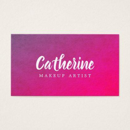 Modern Elegant Texture Red Pink Makeup Artist Business Card