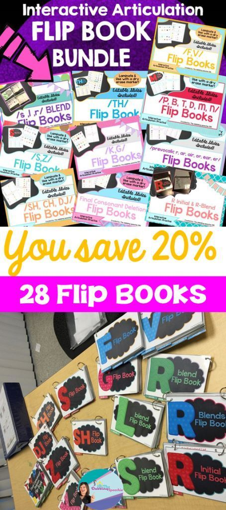Use these interactive articulation flip books by laminating and using a dry erase marker!
