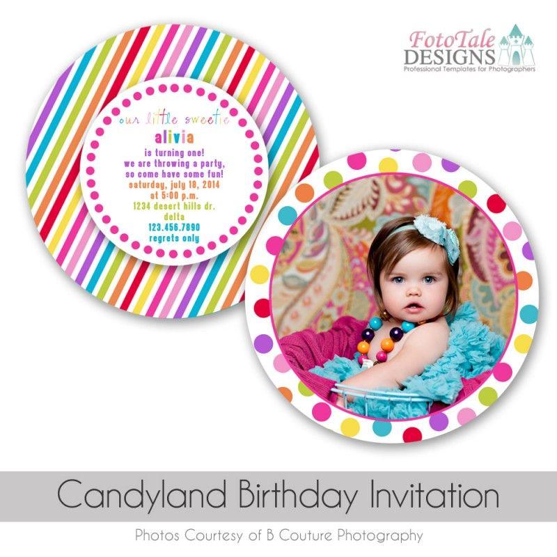 CandyLand Birthday Invitation Custom Diecut Photo Card Template ...