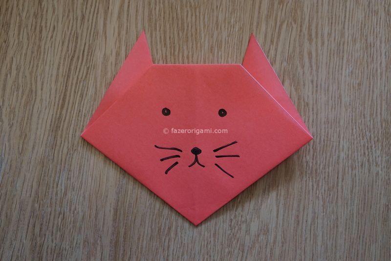 Famosos Cabeça de Gato Origami -gato de papel colorido #arte de papel  OO77