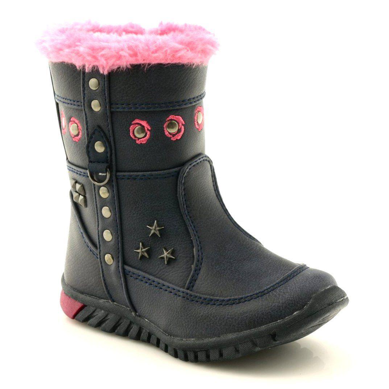 American Club Kozaczki Dziewczece American 8646 Granatowe Rozowe Wielokolorowe Winter Boot Boots Shoes