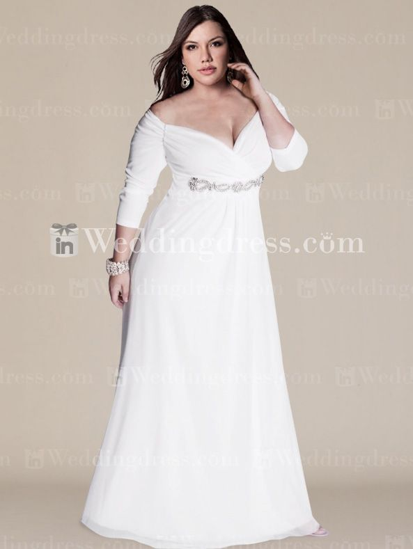 Off The Shoulder Plus Size Wedding Gown With Sleeves PS104